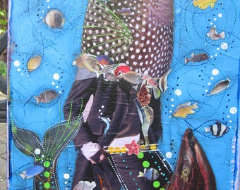 Fancy Mr.Fish, collage, wall hanging, art, home decor