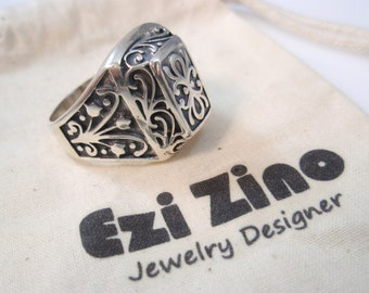 Original Ezi zino man Signet  ring Handmade solid Sterling Silver 925