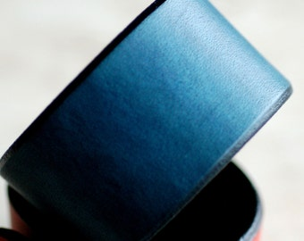 Hand Dyed Blue Leather Cuff Wide