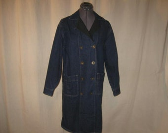 Vintage 80s Calvin Klein Dark Blue Jean Green Flannel Collar Double Breasted Barn Jacket Trench Coat Small