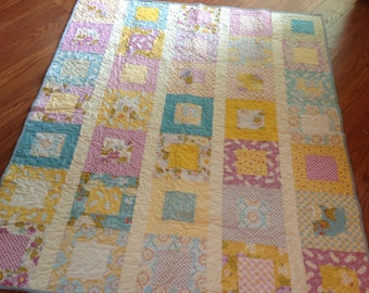 Baby, Crib or Lap Quilt in Promenade Fabrics -- yellow, pink, cream, blue, purple, lilac, orchid