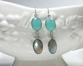 Bezel Wrapped Labradorite and Chalcedony Sterling Silver Bezel Earrings- Aqua Earrings - Turquoise Earrings