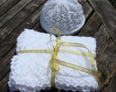 Knitted White lace Baby Blanket and Beenie/ Receiving Blanket/ Newborn baby