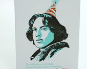 SALE - Happy Birthday Letterpress card - Oscar Wilde Quote - 60% off
