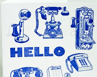 SALE - Letterpress Hello Card - Phones - 60% off