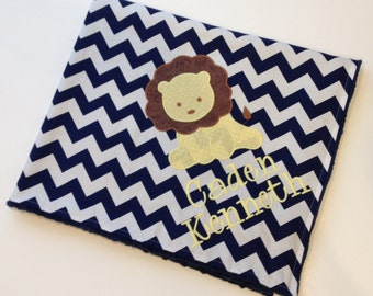 Personalized Baby Blanket- Chevron Baby Blanket- Minky Baby Blanket- Lion Blanket- Lion Baby Blanket