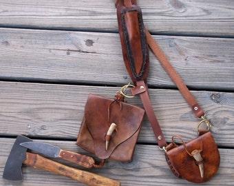 Rustic Cross Body Bushcraft Tool Belt Harness with Belt Pouch Knife and Kentucky Belt Axe