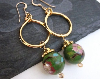 Bead Hoop Dangles -- Gold & Green Bead Dangles -- Cloisonne Earrings -- Olive Green Dangle Earrings -- Green Loop Earrings,Beaded Gold Hoops