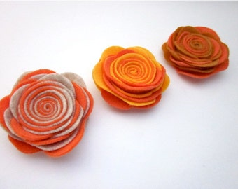 Orange Pin -- Orange Flower Brooch -- Orange Lapel Pin -- Orange Felt Brooch -- Orange Felt Flower -- Felt Rose Pin -- Orange Flower Pin