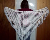 White Fringed Shawl - amydscrochet