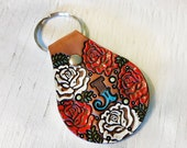 Custom initial leather key ring - Rose Pattern - hand painted and hand stamped - Your Choice of Initial and Rose Color