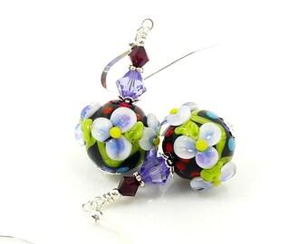 Purple Floral Earrings, Lampwork Earrings, Polka Dot Earrings, Glass Bead Earrings, Beadwork Earrings, Glass Earrings, Lampwork Jewelry