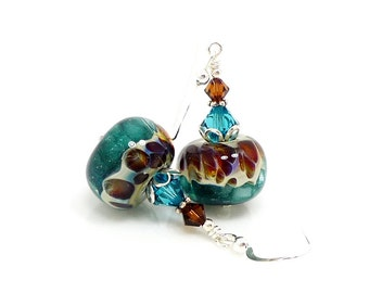 Blue & Brown Earrings, Boro Earrings, Lampwork Earrings, Glass Earrings, Glass Bead Earrings, Beadwork Earrings, Lampwork Jewelry