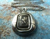 Silver Griffin Crest Wax Seal Necklace. Gift for Her in Wax Seal Jewelry