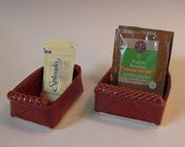 Brick Red Sugar and Tea Bag Packet Holder SET with Textured Handles - handmade - In Stock