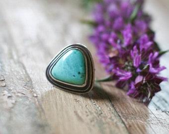 SALE! Turquoise Ring, ArizonaTurquoise, Bezel Set Statement Ring, Cocktail Ringocktail Ring, Sleeping Beauty Turquoise; Size 6.5