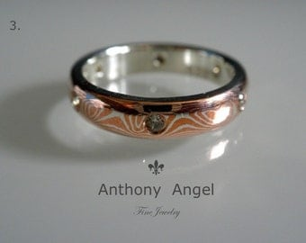 4mm Mokume Gane Band With 6-2mm diamonds Wide - Made To Order