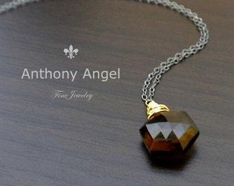 Ready To Ship - Custom Cut Smokey Quartz Drop Necklace