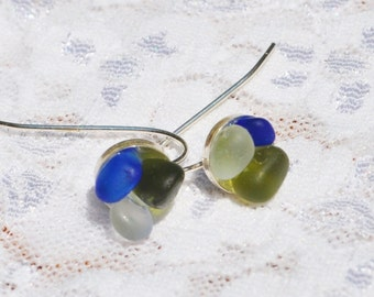 Sea Glass Jewelry Beach Wire Earrings Flowers of Color Sterling Silver 4524