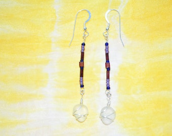 Sea Glass Jewelry Beach Swinging Sterling Silver Earrings Beaded and Wrapped 5799C