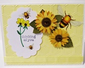 Sunflowers and Bees Thinking of You Handmade Card