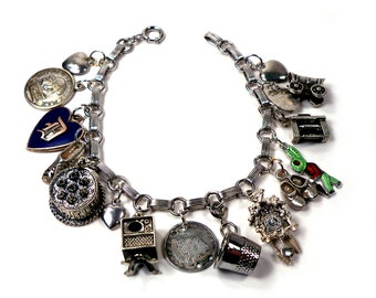 1950s Vintage STERLING SILVER Charm Bracelet 15 Charms Mixed Theme Birthday Cake, TV, 1831 Coin