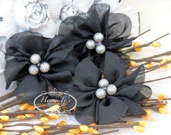 NEW: 4 pcs Lavinia BLACK Soft Chiffon and Tulle w/ pearls Ruffled Fabric Flowers, Hair accessories. Headband Flowers. Scrapbooking.