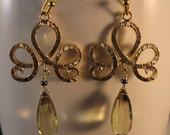 Gemstone Earrings,drop earrings, dangle earrings, tiara filigree, gold filigree, gemstone earrings, lemon quartz, gemstone,filigree earrings