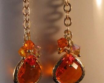 Crystal cluster Earrings, cluster earrings, drop earrings, dangle earrings, crystal earrings, bezel earrings, gold earrings