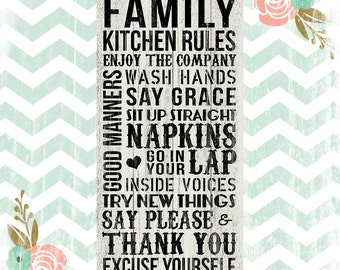 Family Kitchen Rules Sign