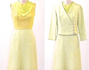 Vintage 1960s Dress & Jacket, 60s Mod Dress, Yellow and Green Ascot Dress Set XS