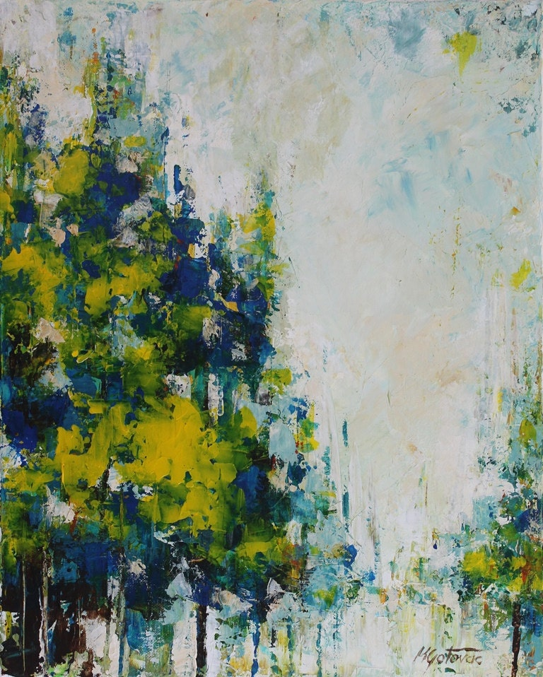 Modern Forest House: Original Acrylic Painting Blue Forest Abstract Modern