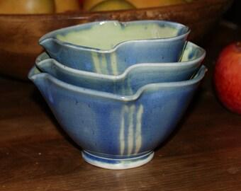 Ceramic Dessert or Dip Bowls /  Blue  Green / Stripes / Cereal Bowls / Porcelain