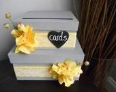 Custom Wedding Card Box 2 tiered Slate Gray and Yellow Orchids Personalized Tag You Customize Colors and Flowers