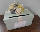 Wedding Card Box Mint Green Wedding Reception Gift Card Box, Custom Wedding Card Box, Vintage Wedding Decor, Personalized Tag Hydrangeas