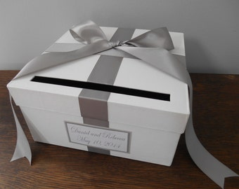 Custom Wedding Card Box with Silver Gray Ribbon Bow and Personalized Tag Can Customize Flowers and Colors