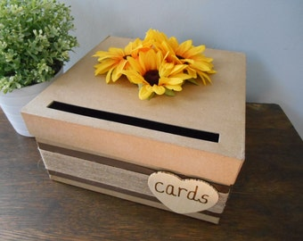 Rustic Wedding Card Box with Burlap, Sunflowers with Chalkboard Wood or Paper Personalized Tag