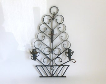 Mid Century Outdoor Patio Wrought Iron Topiary Shaped Taper Wall Mount Candle Holder