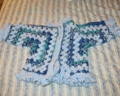 Crochet Cardigan Sweater Hexagon in Light Blue and Variegated Shades of Blue 25% wool