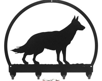German Shepherd Black Metal Key Chain Holder Hanger