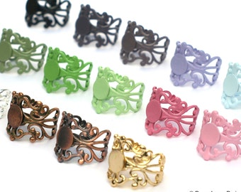 NEW Set of 50 You Create..Multi...Assortment..Adjustable Filigree Ring Base with Pad....TOP QUALITY...20mm... Make the Mix Yourself