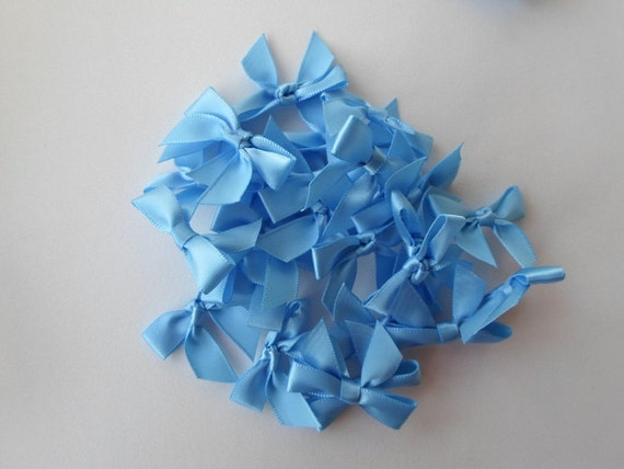 "Satin Bows 1 3/8"" long Light Blue Embellishment Pack of 10 Little Bows Craft Supply"