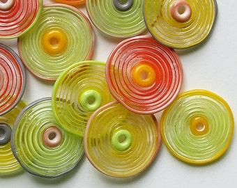 Lampwork Glass Disc Beads, FREE SHIPPING, Handmade Spring Shades Glass Disc Beads - Rachelcartglass