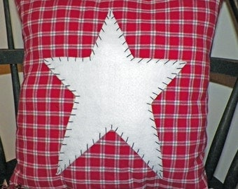 UNSTUFFED Primitive Pillow Cover Barn Star Prim Country Rustic Home Decor Decoration Stitchery Red White Black Plaid Farmhouse wvluckygirl