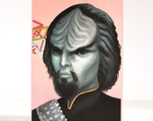 Last ONE Worf - Klingon Crush - Star Trek signed 4 x 5.75 Mini Art Print by Mab Graves - unframed - open edition