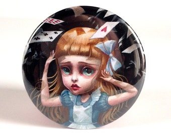 Pretty Pocket Mirror - Alice in the Shower of Cards - Alice in Wonderland pocket mirror - by Mab Graves
