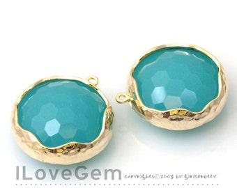 50% OFF Clearance// NP-1464 Gold plated, Mint, Glass, 20mm, pendant, 2pcs