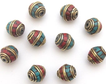 10 Beads - Nepal beads bicone shape brass beads with turquoise coral inlay - Tibetan beads supplies  BD484