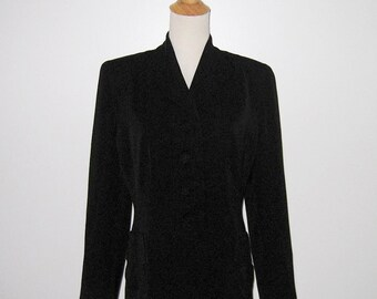 Vintage 1940s Black Gabardine Jacket With Pretty Pockets By Milady New York - Size M