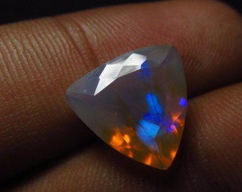 12x12 mm - Faceted Trillion Cut - AAAAAAAAA - Ethiopian Welo Opal Super Sparkle Awesome Amazing Full Colour Fire